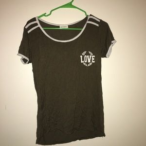 Green and white graphic tee